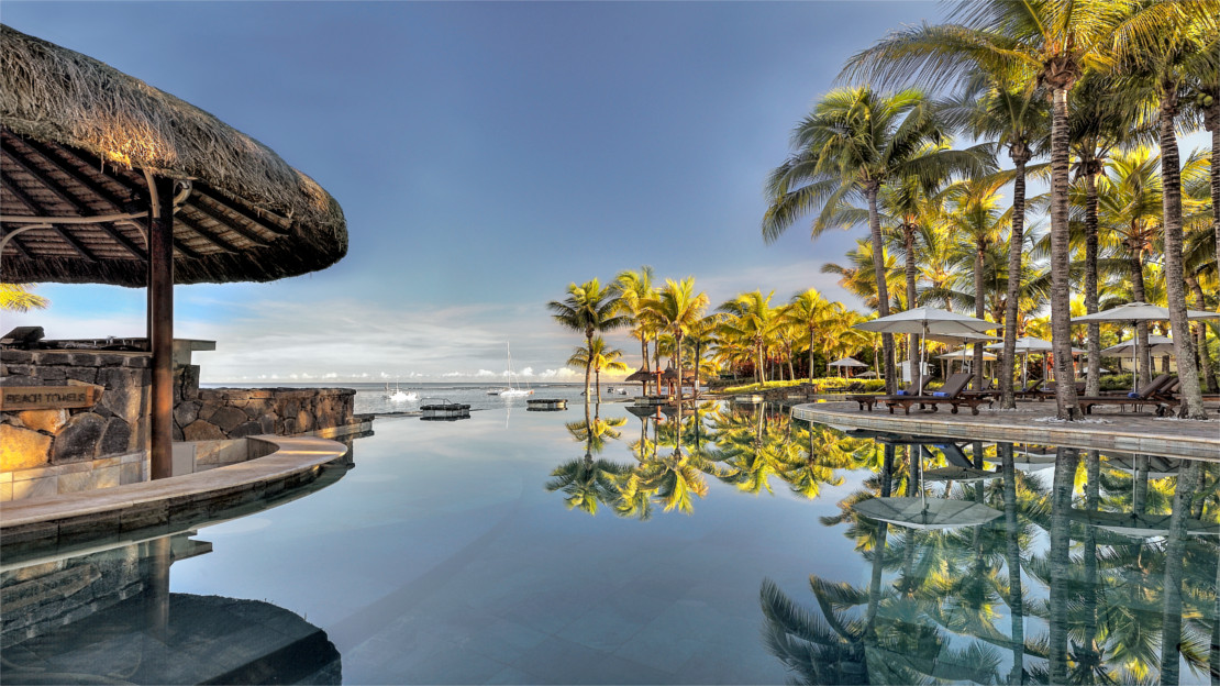 Pool area at Le Meridien Ile Maurice, Mauritius