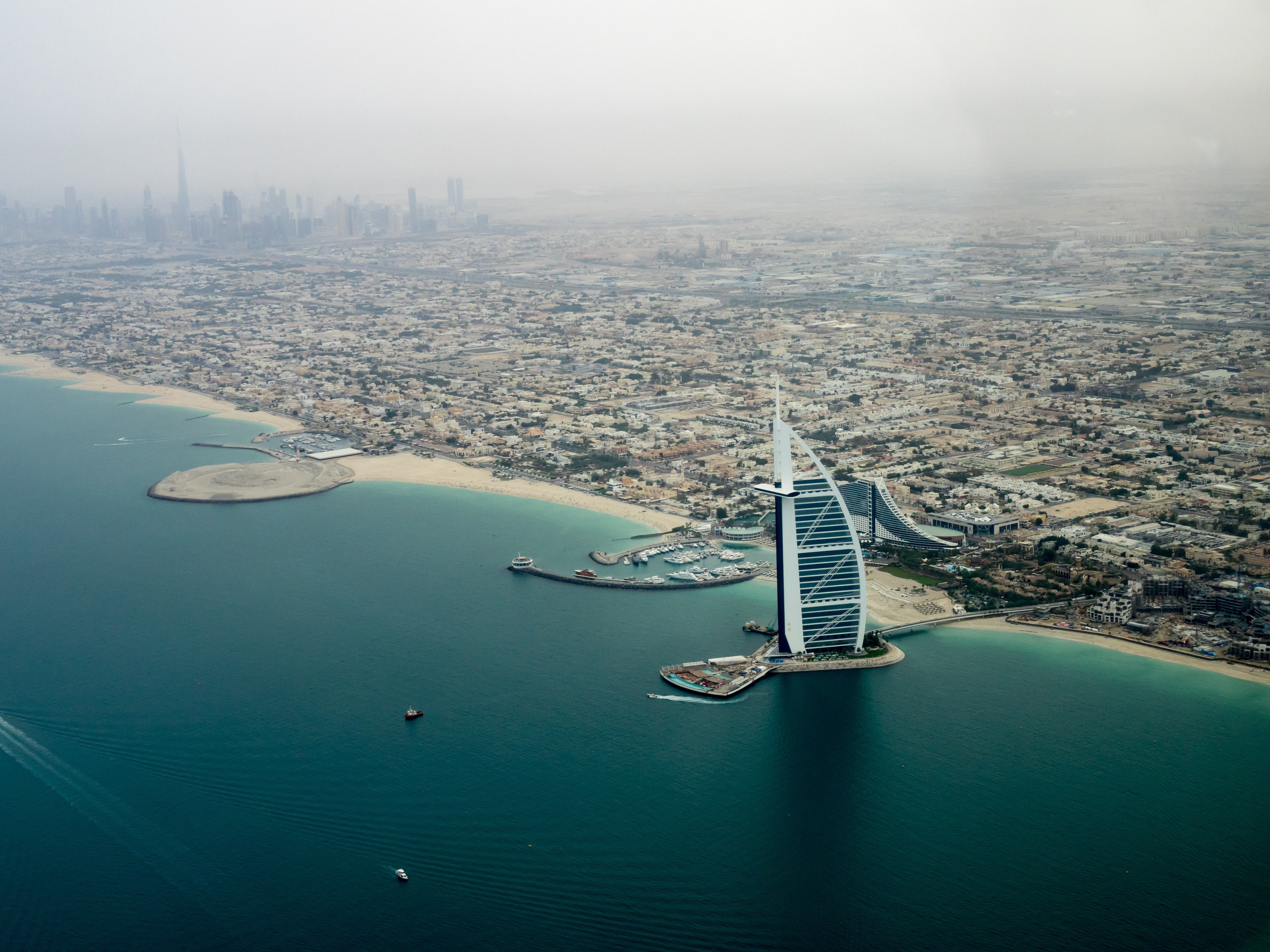 Dubai coastline shot with Burj Al Arab